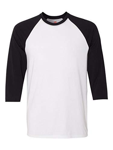 Hanes Unisex X-Temp Performance Baseball Tee, 42BA, M, White/Black