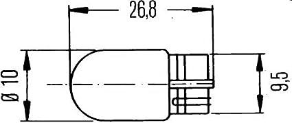 HELLA 8GP 003 594-123 L/ámpara W5W 12V//5W Embalaje Blister Standard Cant.: 2 W2,1x9,5d