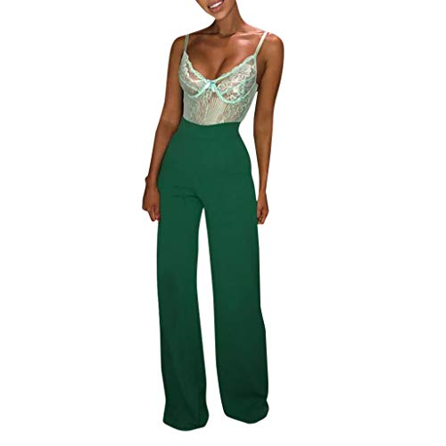 PASATO Women Solid Casual Loose Wide Leg Pants Long Pants Flares High Waist Trousers(Green,L=US:M)