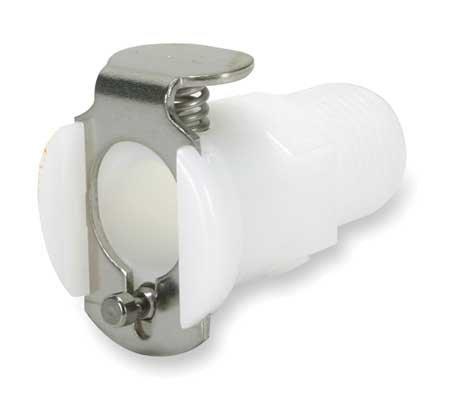 "Colder PMC1004 Acetal Tube Fitting, Coupler, Straight Thru, In-Line, 1/8"" Flow Coupler x 1/4"" NPT Male"