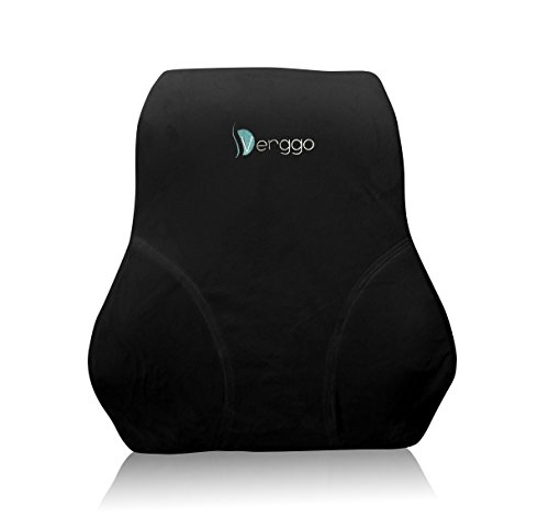 Premium Lumbar Support Pillow - Relieves Chronic Backache, Low Back Soreness - Memory Foam Cushion for Pain Relief & Correct Posture for Home, Office Chair, Car, Airplane - Soft Black Velboa Cover