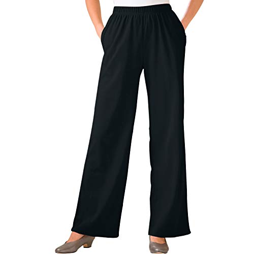(Woman Within Women's Plus Size Petite 7-Day Knit Wide Leg Pant - Black, 3X)