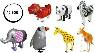 Pet Animal Balloons for Kids - 7-Pack Zoo Helium Floating Walking Balloon Set for Birthday Party - Premium Quality Foil - Reusable - Vivid Colors and Funny Animal Carnival Circus Tiger Elephant