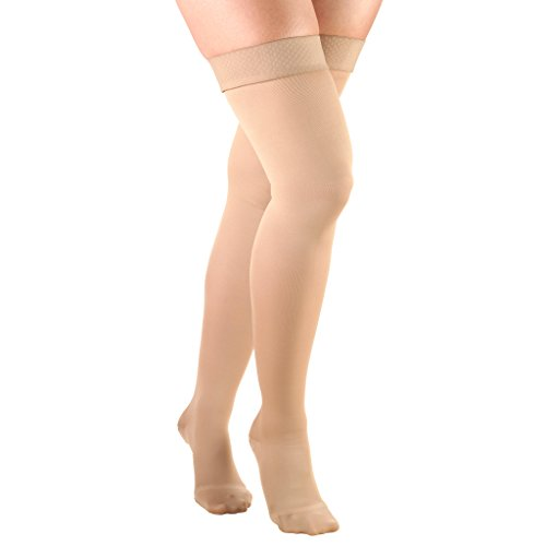 Truform Women's Compression Stockings, 15-20 mmHg, Thigh High Length, Closed Toe, Opaque, Beige, Large (15-20 mmHg) ()