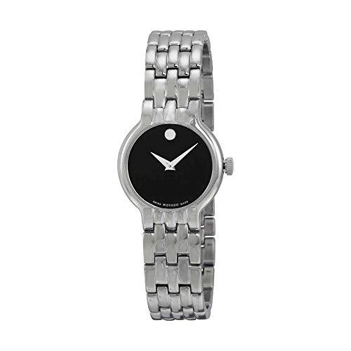 Movado Black Dial Stainless Steel Ladies Watch 0606338