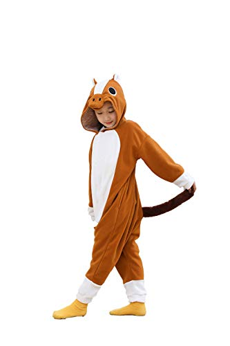 kuki Child Cosplay Costumes Pajamas for Children Brown Horse Onesie Birthday Gifts(2-4 Years) -