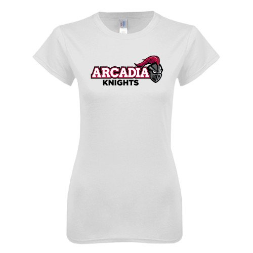 Arcadia Next Level Ladies SoftStyle Junior Fitted White Tee 'Official Logo'