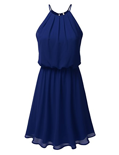 DRESSIS Womens Double Layered Chiffon Mini Tank Dress Royalblue 3XL