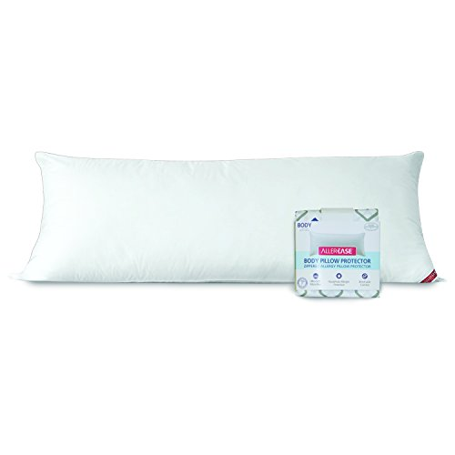 AllerEase Cotton Hypoallergenic Allergy Protection Body Pillow with Zippered Body Pillow Cover