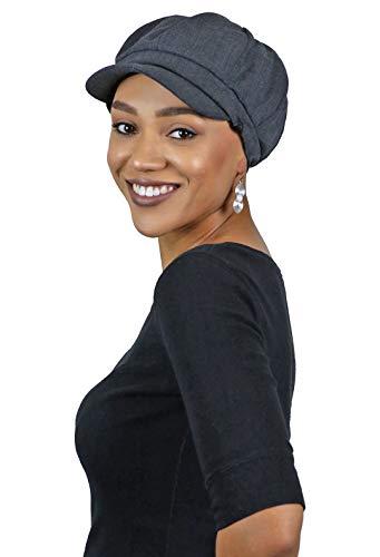 Newsboy Cap for Women Cancer Headwear Chemo Hat Ladies Head Coverings Tweed Roxbury (Dark Grey)