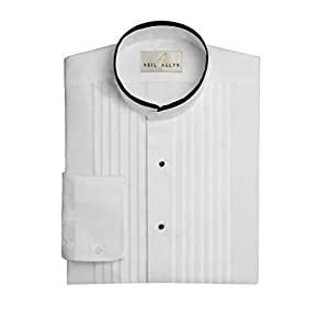 Neil Allyn Men's Banded Collar 1/2″ Pleats Tuxedo Shirt with Black Piping