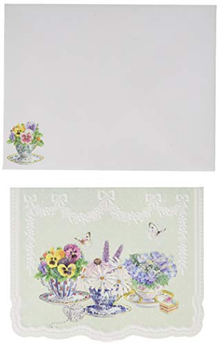 Pansy Note Card - Carol Wilson Fine Arts Pansy Teacups Blank 10 Card Set Portfolio