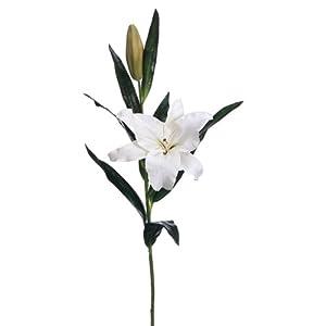 """SilksAreForever 37"""" Handwrapped Silk Casablanca Lily Flower Spray -White (Pack of 4) 106"""