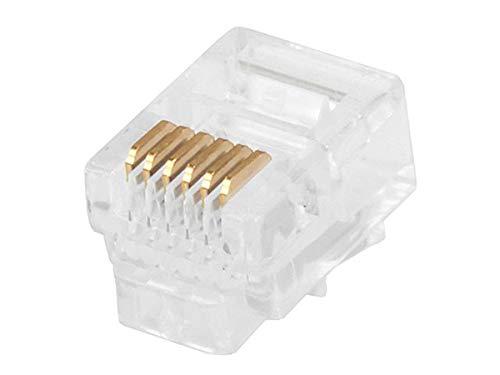 6 Pin Modular Plug - Monoprice RJ12 6P6C Plug Round Stranded, 50-Piece/Bag (107272)