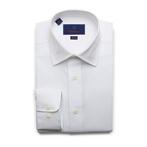 (David Donahue Mens Slim Fit Long Sleeve Twill Dress Shirt,White,16.5