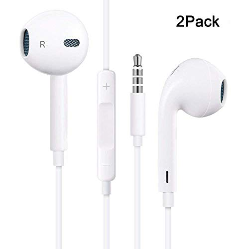 Premium Earbuds Headset [2 Pack ] Wired Headphones Mic Remote Control Fits iPhone iPod iPad Mac Android Samsung Galaxy Kindle MP3 MP4 (White)