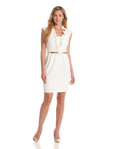 Sandra Darren Women's Sleeveless Ruffle Front Dress