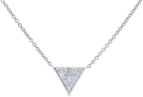 Kobelli Triangle Diamond Necklace 14k White Gold