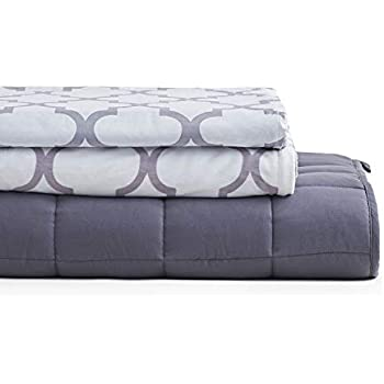 YnM Weighted Blanket 3 Pieces Set with 2 Duvet Covers | 60''x 80'' 25lbs, Queen Size for One Person(~240lbs) Use | Suit for Hot & Cold Sleepers Year Round Use