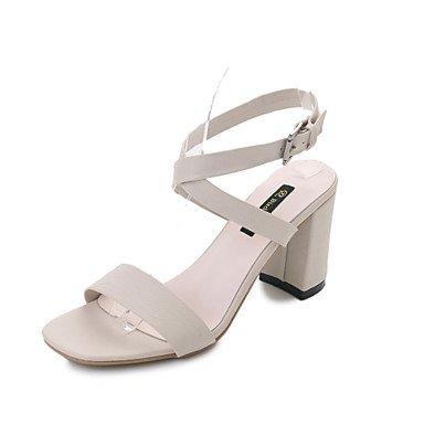 YFF Sandales femmes Talon Beige,Boucle,US6
