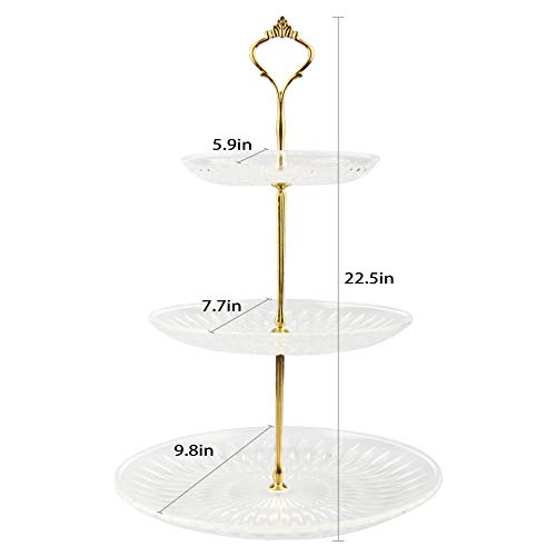 JunYi Acrylic Cupcake Stand 3 Tiered Display Stand with Crystal Clear Plates and Metal Struts Acrylic Stand for Display Cake Holder for Party Wedding Home Décor(Gold New Crown)