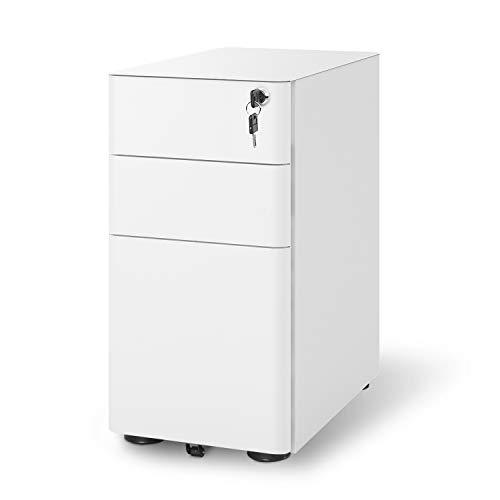 DEVAISE 3-Drawer Slim Locking File Cabinet, Fully Assembled Except Caster, Legal/Letter Size, White (Small Desk Locking Drawer)