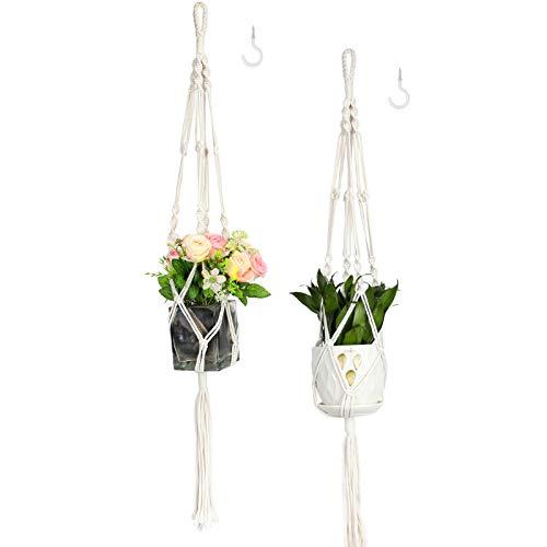 Purnap 2 Pack Macrame Plant Hangers with 2 Hooks, Handmade Indoor Outdoor Hanging Planter Holder Basket Flower Pot Holder Cotton Rope for Garden Home Decoration, 4 Legs, 42