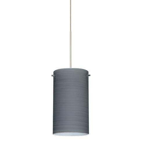 4404tn Led - Besa Lighting 1XT-4404TN-LED-SN 1X6W Led Lightsource Stilo 7 Pendant with Titan Glass, Satin Nickel Finish