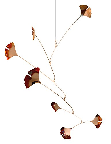Modern Artisans Copper Ginkgo Leaves Spinning Mobile for Indoor or Outdoor, Standard 7-Leaf - Mobile Kinetic