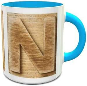 White and Blue Ceramic Mug with Wooden Colored Alphabet N Design 307