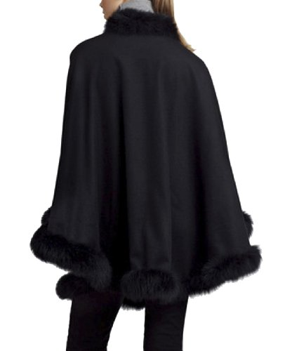 CAPE- CASHMERE CAPE WITH FOX TRIM ALL AROUND FROM CASHMERE PASHMINA GROUP (BLACK)