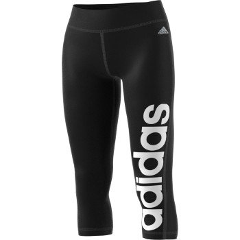 adidas Women's Fab Climalite Essentials 3/4 Capri Linear Training Tights Pants (Small, Black)