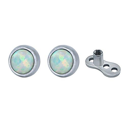 Pairs Dermal Anchor Crystal/Opal Ball Dermal Top Surgical SteelInternally Threaded Base Skin Piercing Jewelry (White Opal)