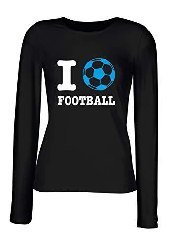 Football Donna shirt Manica Lunga Love Nera T Wc1368 rBshQCtdx
