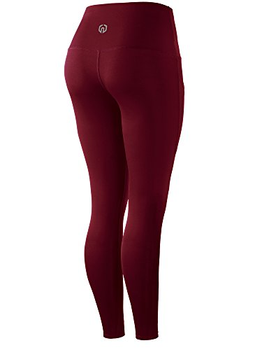 Neleus 2 Pack Tummy Control High Waist Running Workout Leggings,9017,2 Pack,Red,Rose Red,US S,EU M by Neleus (Image #3)