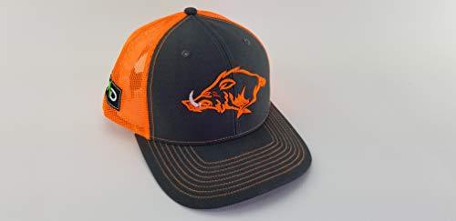 - Hunting trucker hat, hunting hog hat, hunting hat, MAD Hog, pig, Hunter, snapback, tactical, Richardson, trucker hat, hunting life, neon orange