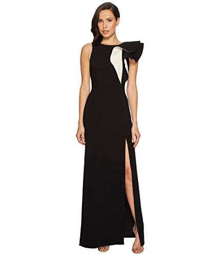HALSTON HERITAGE Women's Sleeveless Boatneck Asymmetrical Flounce Gown, Black/Cream, 10