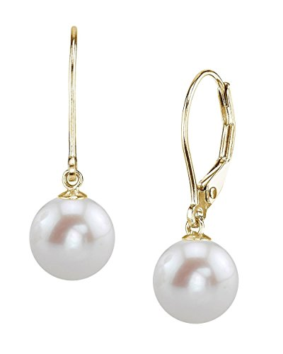 (THE PEARL SOURCE 14K Gold 8-9mm AAAA Quality Round White Freshwater Cultured Pearl Leverback Earrings for Women)