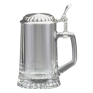 0.4 Liter Glass Beer Stein with Pewter Lid