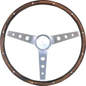 Grant 966-0 Classic Nostalgia Style Steering Wheel with Walnut Grip and Brushed Stainless (Grant Classic Steering Wheel)