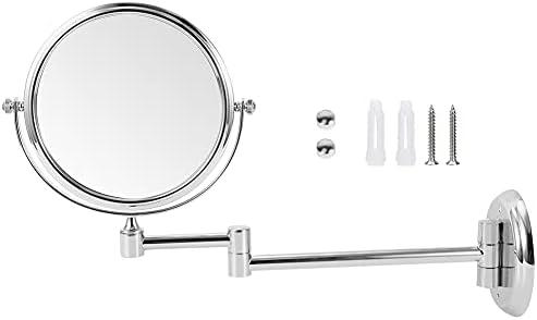 Makeupspiegel spiegel dubbelzijdig mode koper zilver kleur voor kleedkamer badkamerspiegel badkamer makeup accessoireBright silver round bottom 6 inches