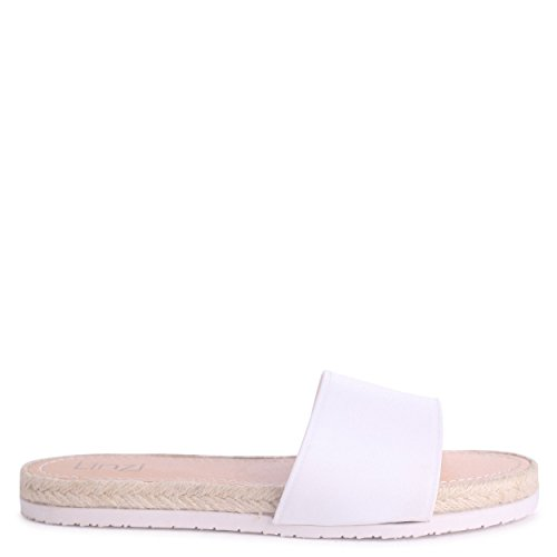 Linzi Kasey - White Slip On Jelly Slider with Espadrille Inspired Trim White 2OQW1O6