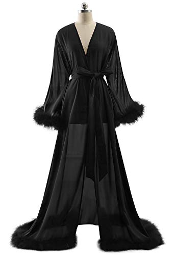 BBCbridal Women's Sexy Chiffon Feathers Long Lingerie Nightgown Robe Collar Perspective Sheer Bathrobe Sleepwear B Black L/XL