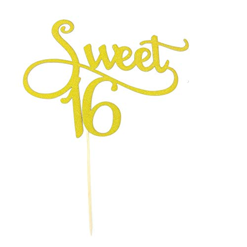 Toomeecrafts Gold Monogram Sweet 16 Cake Topper, 16th Birthday Anniversary Cake Topper For Sweet 16 Party Themes Decoration Supplies