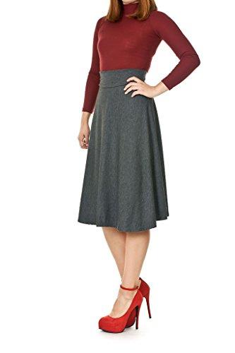 (Dani's Choice Stretch High Waist A-line Flared Long Skirt (M, Gray))