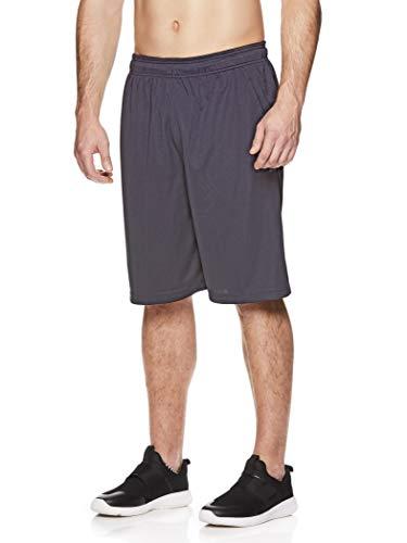 Reebok Men's Mesh Basketball Gym & Running Shorts w/Elastic Drawstring Waistband & Pockets - Bank Double Shot Ebony, Medium ()