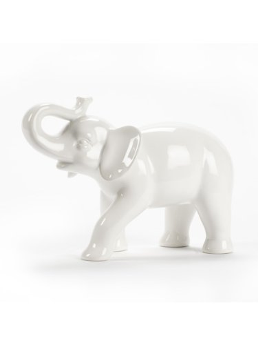 Abbott Collection Ceramic Elephant Figurine, White - Ceramic White Large