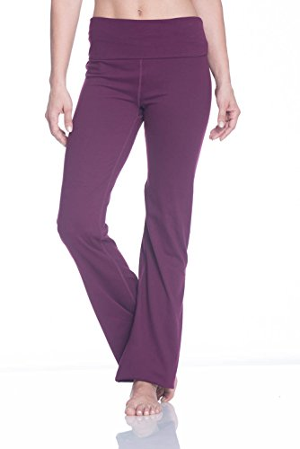 Gaiam Women's Om Nova High Waist Pant Foldover Waistband Bootcut Yoga Pants - Pickled Beet, Small
