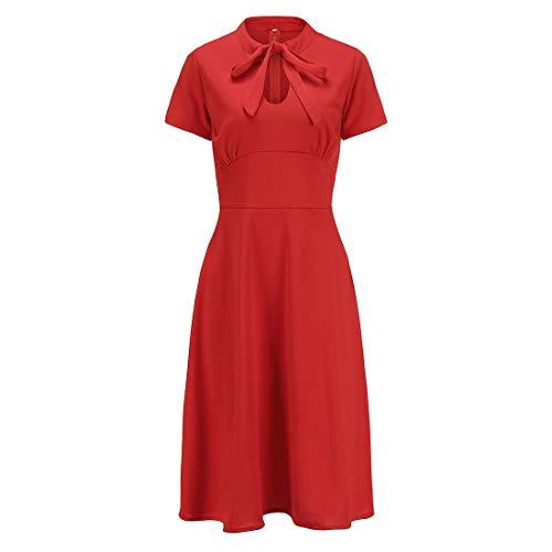 Ez-sofei Women's 1940s Vintage Keyhole Bowtie Front Cocktail Swing Dress L Red