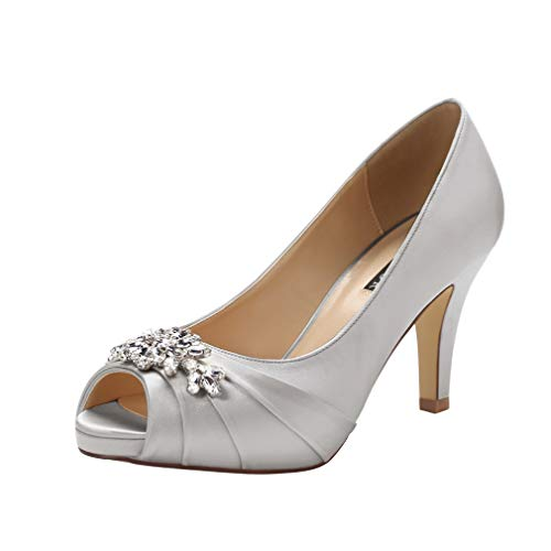ERIJUNOR E0055 Peep Toe Mid Heels for Woman Rhinestones Satin Evening Prom Wedding Shoes Silver Size 6.5